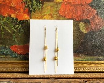Gold Dangly Earrings Beaded Vintage Earrings Big Statement Jewelry