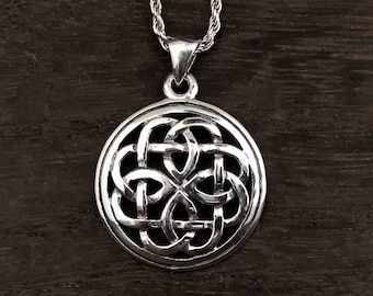 Knotted Celtic Pendant - Dara Celtic Knot Pendant - 925 Sterling Silver - Hand Cast -- Celtic Jewellery