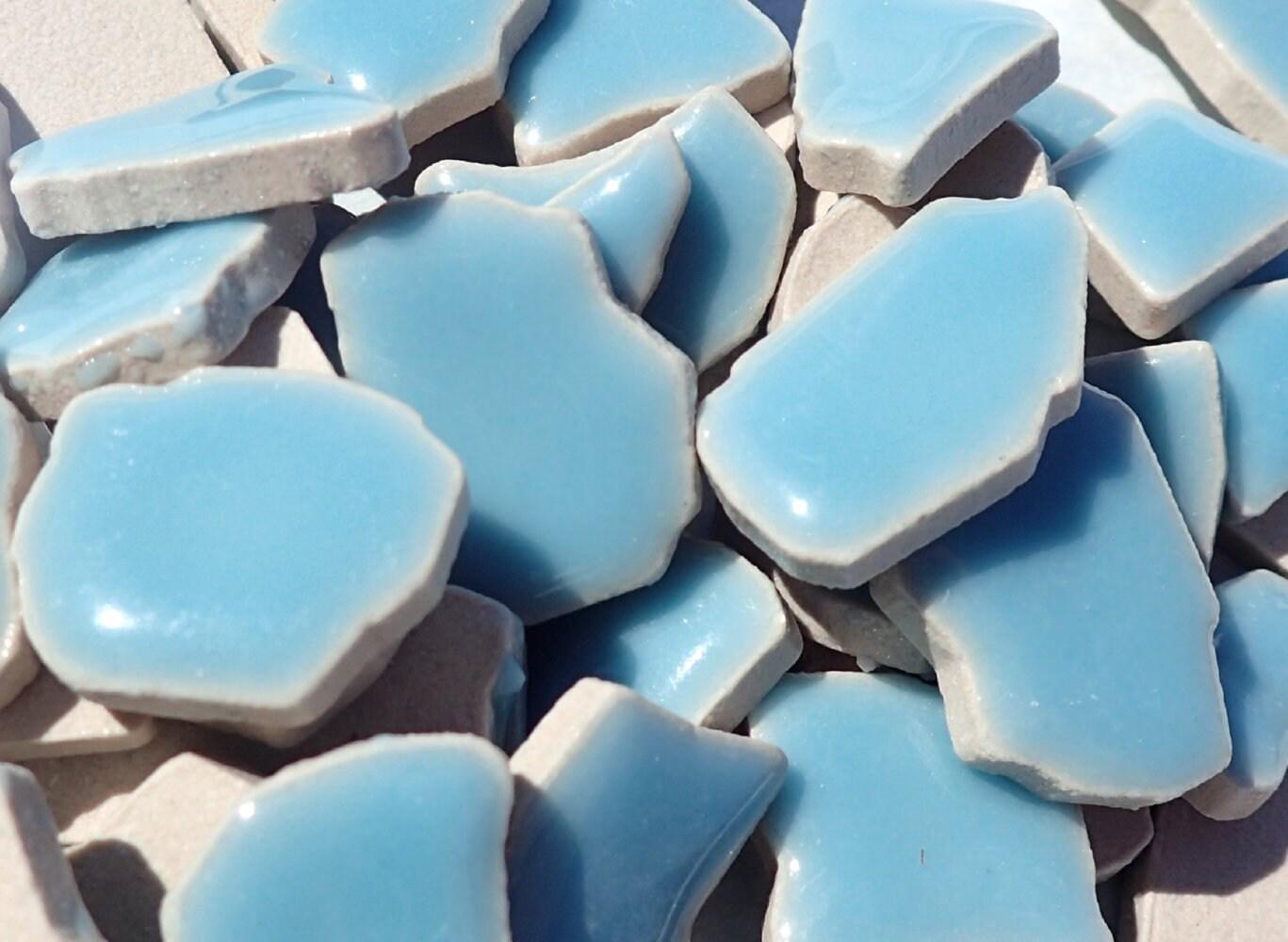 Light Blue Mosaic Ceramic Tiles - Jigsaw Puzzle Shaped Pieces - Half ...