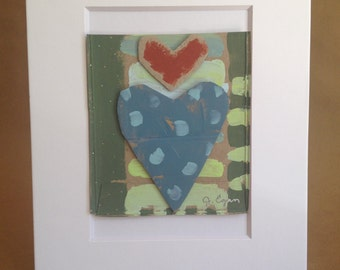 Collage Painting - Rumpled Heart #5