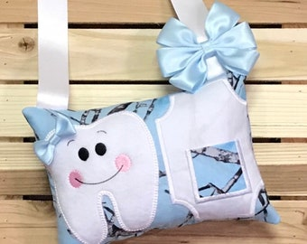 Personalized Tooth Fairy Pillow- Blue Truetimber- W0004