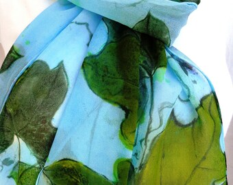 silk scarf hand painted unique Kudzu sage green chartreuse sky blue extra long chiffon wearable art