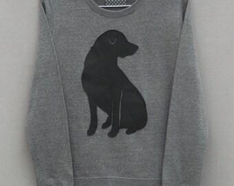 Leather Labrador Jumper, Grey Heather Lightweight, Crew Neck, Sweatshirt, Sweater, Lab, Dog Jumper, Labrador Gift