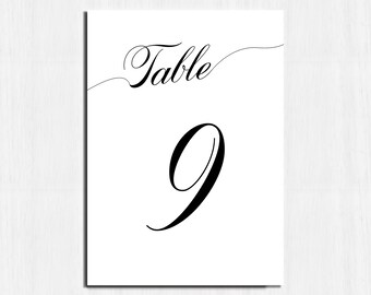 Simple table numbers, Black and white, Printable table numbers, Printable table cards, table number, black and white, calligraphy numbers