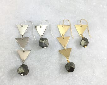 Asymmetric Triangle Earrings with Pyrite Beads | Silver Plated | Brass | Natural Stones | Fools Gold | Asymmetrical