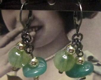 Vintage Green Glass Bead Hook Earrings