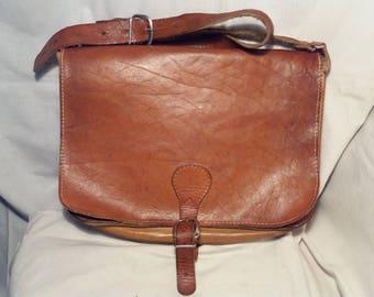 Vintage Brown Leather Postbag.Made in SWEDEN