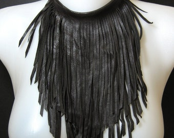 "10"" Fringe Bib Cowhide Necklace in Brown NK0935"