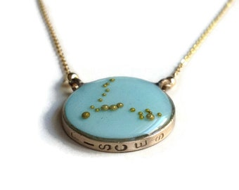 Pisces Constellation Necklace Sky Blue | Pisces Zodiac Sign Necklace Gold | Pisces Necklace | Astrology Necklace | Pisces Gifts
