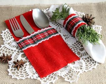 Christmas Silverware Holder, Table Decor, Burlap Christmas Silverware, christmas decorations, christmas stocking, christmas table Silverware