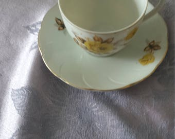 Vintage Yellow Rose Tea Cup and Saucer with Gold Trim- Royal Sealy