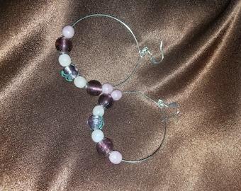 Purple and pink beaded hoop earrings