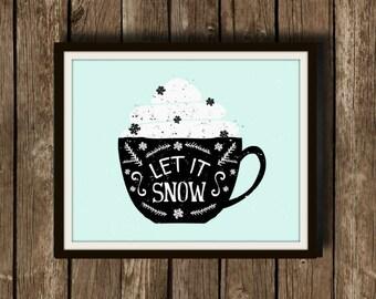 Let It Snow - Christmas, Christmas Art, Christmas Print, Christmas Prints, Christmas Art, Christmas Decor, Seasons Greetings, Wall Art