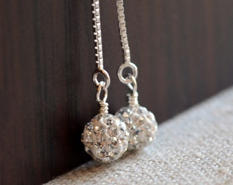 Beaded Pave Earrings, Sterling Silver, Delicate Box Chain Threaders, Ear Strings, Dangle, Crystal Jewelry