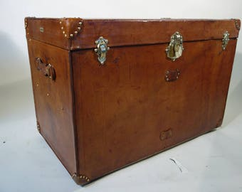 1920s Big Leather Steamer Trunk, Au Depart