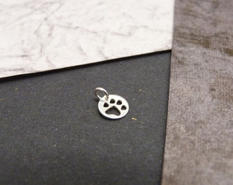 Paw print charm, sterling silver, charm only, add to necklace or bracelet, cat, dog, pet, add-on