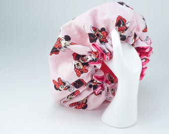 DISNEY MINNIE MOUSE Hair Bonnet -> Luxuries Satin Hair Bonnet  In Size Newborn upto a 5X Lerge.