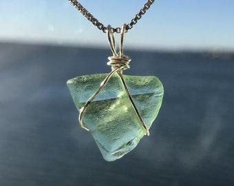 Genuine SEA FOAM Sea Glass Pendant; Ocean-Tumbled and Hand-Picked Sea Glass from the Coast of Maine