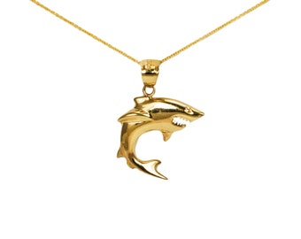 14k Yellow Gold Shark Necklace