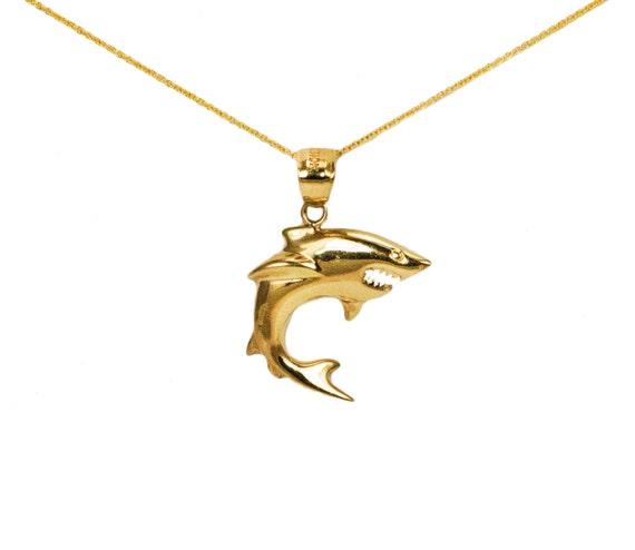 14k yellow gold shark necklace aloadofball Images