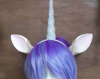X Large realistic  unicorn and ears on a headband fantasy horn and ears horned headband 3D print clear plastic unicorn headband dragon horns
