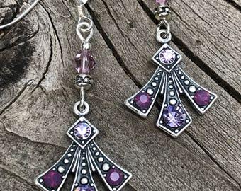 Art Deco violet and amethyst Swarovski crystal rhinestone earrings, Art Deco earrings, Art Deco jewelry, antique silver