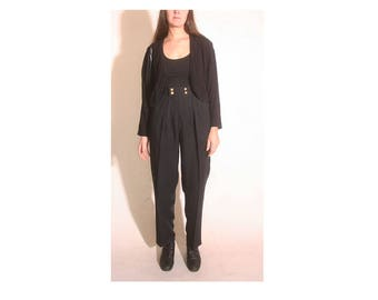 Vintage 1990s Pleated High Waisted Black Flood Trouser Dress Pant size 8