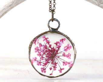 Pink Queen Anne Lace necklace - pink flower pendant - real flower jewelry - terrarium necklace - flower glass pendant - terrarium jewelry
