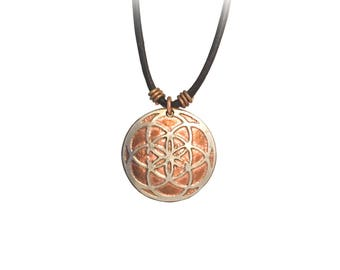 Seed of Life Necklace. Sacred Geometry Necklace. Etched Coin Necklace. Etched Quarter. Buffalo charm. Buffalo necklace. Bison necklace