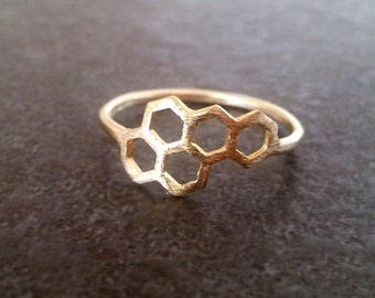 SALE! Gold ring, Honeycomb ring, geometric ring, abstract ring, minimalist ring, minimal boho, Hexagon Beehive Ring
