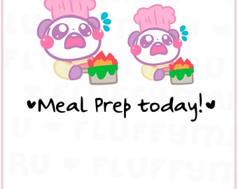 Cooking Panda Mimi    Planner Stickers, Cute Stickers for Erin Condren (ECLP), Filofax, Kikki K, Etc.    MTP26