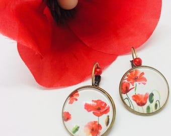 Red poppies cabochon sleeper