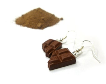 Bitten chocolate bar earrings - chocolate earrings - sweet polymer clay earrings