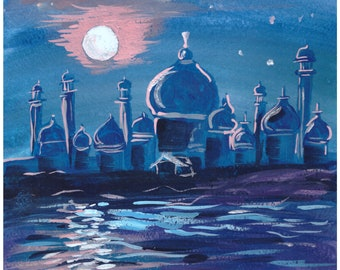 "Original painting, gouache, ""Oriental Night"", hand painted"