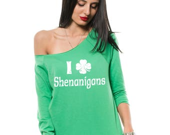 St. Patrick's Day Irish Girl French Terry Raglan Shenanigans Paddy's Day Green Raglan Gift for Wife Gift for her