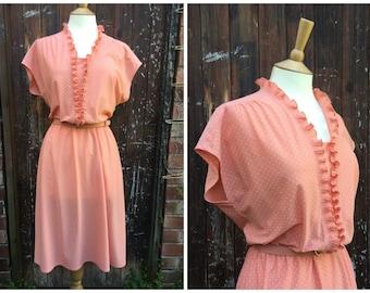 vtg 1980s Peach POLKA DOT day dress with pleated neckline St.Michaels  // uk 16 // M-L
