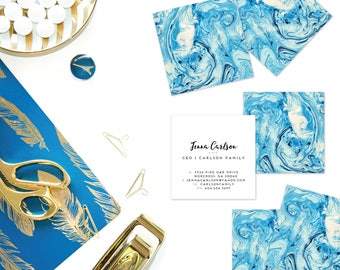 Aqua Marble Calling Cards | Business Cards | Blogger Cards | Set (50)