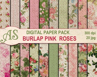 Digital Vintage Burlap Pink Roses Paper Pack, 20 printable Digital Scrapbooking papers, Fabric Digital Collage, Instant Download, set 63