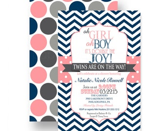 Double Joy Baby Shower Invitations Twins - Navy and Coral - Chevron Striped - Guest Announcement - Classic Party Ideas - Plan a Celebration