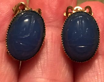 Vintage Costume Jewelry Blue Scarab Clip On Earrings