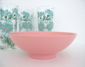 Vintage Serving Bowl Boonton Ware Pink Melmac Mid Century Kitchen Decor