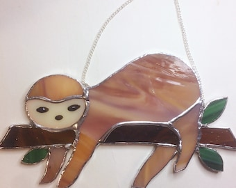Stained glass sloth, sloth ornament