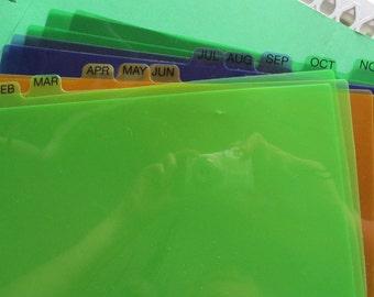 Set of 12 Month Tab Divider. Craft Project. Junk Journal. Journal Tabs.  Paper Ephemera. Multi Color Tabs