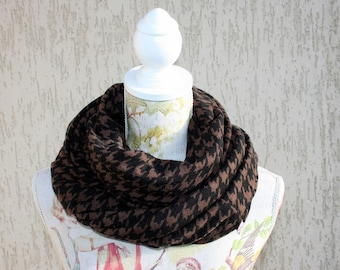 Infinity scarf, jersey knit fabric,brown and black, Free shipping