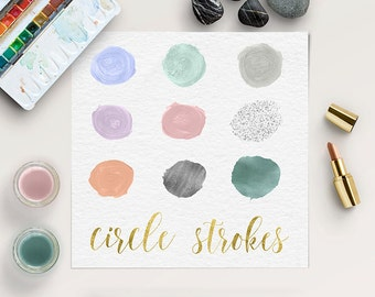 PASTEL ART, Circles Clipart, Paint Brush Clip Art, Ink, Silver, Watercolor, Shimmer Circles, Commercial Use, Instant Download, BUY5FOR8