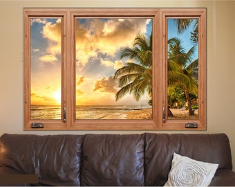 Tropical Paradise 3D Window Wood Frame View Removable Decal Home Decor Mural Wall Vinyl