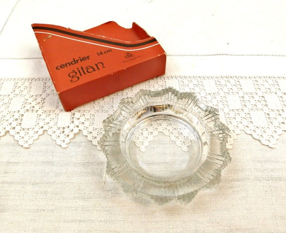 Vintage 1970s Unused Boxed Glass French Ashtray by VMC Verries Champenoises Reims France, French Retro Round Glass Ash Tray and Original Box