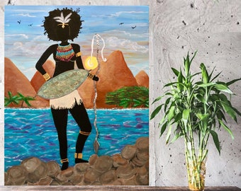 African American, Original Canvas Painting, Modern Artwork, Beautiful Woman Warrior, Wall Home Decor, Gift