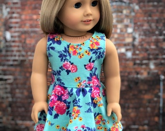 American Made Doll Clothes - Teal Floral Sleeveless SKATER DRESS for 18 Inch