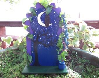 Fairy Garden Door Starlit Night with Owl and Moon miniature house cottage
